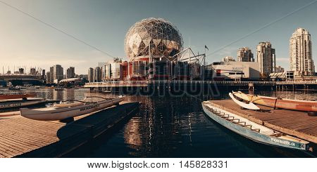 VANCOUVER, BC - AUG 17: Science World at waterfront of False Creek on August 17, 2015 in Vancouver, Canada. With 603k population, it is one of the most ethnically diverse cities in Canada.