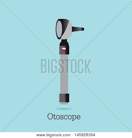 An Otoscope Being Used to Inspect an Ear isolated on white background equipment medical care flat design Vector illustration.