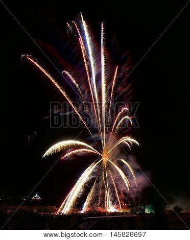 Fireworks in Zurrieq, Malta. Religion feast in little maltese village Zurrieq