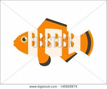 Aquarium fish. Clownfish flat illustration. The inhabitants of marine reef aquariums and ponds