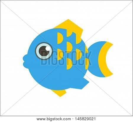 Aquarium fish. Globefish or tetraodon flat illustration. The inhabitants of marine reef aquariums and ponds