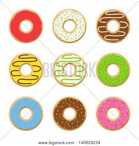 Set sweet colorful vector donuts isolated on white background. Chocolate yummy cookie donuts food. Candy decoration color donuts collection. Glazed pastry delicious snack, eat candy.
