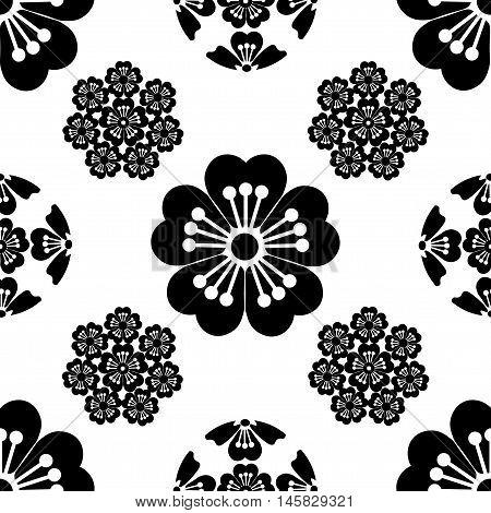 Sakura seamless stylized flower, Japanese symbols, black on white background, isolated, vector illustration.