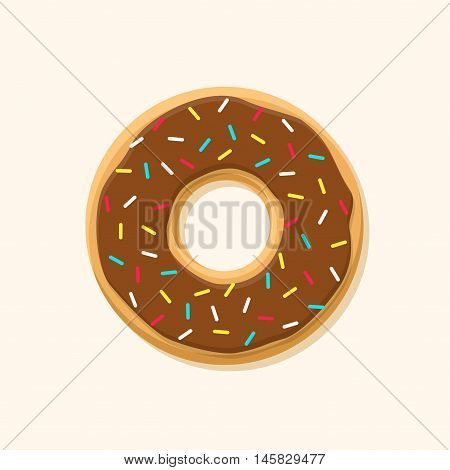 Chocolate sweet brown donut isolated on background. Yummy cookie donut food. Candy decoration color donut with topping. Glazed pastry delicious snack, eat candy.