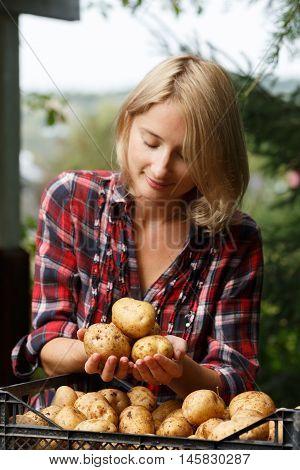 Woman Holiding Potato