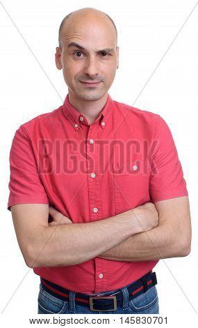 Bald Man With Raised Eyebrow