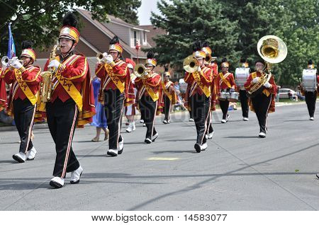 Henry Sibley High School Marching Band Performing In A Parade