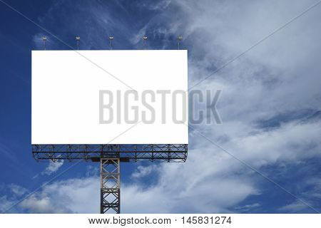 Blank Big Billboard Against Blue Sky Background,for Your Advertising,put Your Own Text Here,isolate