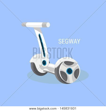 Segway. Electrical self-balancing scooter. Alternative Eco Transport vehicle isolated on a blue background. Vector illustration