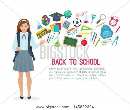 Teen student girl and school supplies. Vector illustration in flat style.