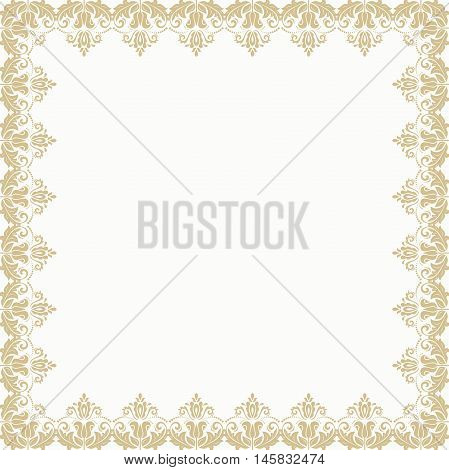 Classic golden vector square frame with arabesques and orient elements. Abstract fine ornament with place for text
