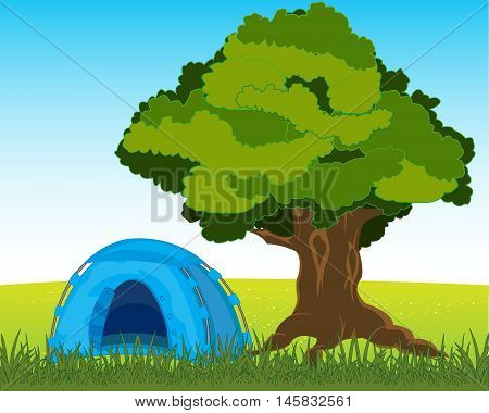 The Blue tourist tent in nature under tree. Vector illustration