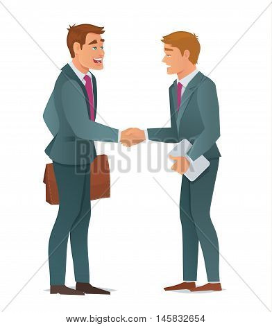Concept of business men, handshake making a deal, teamwork solution , business partners, successful partnership. Vector Illustration in cartoon flat style.