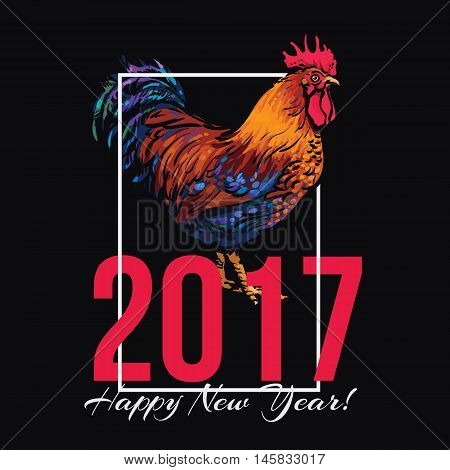 Colorful 2017 New Year greeting card with rooster - symbol of the year, vector illustration isolated on white background. New Year greeting card design for 2017, the year of Red Rooster