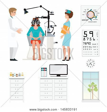 Doctor and patient at Ophthalmologist with Phoropter isolated on white ophthalmic testing device machine medical care flat design Vector illustration.
