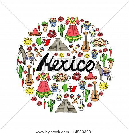 Cute decorative cover with hand drawn colored symbols of Mexico on white color. Illustration on the theme of travel tourism. Vector background for use in design