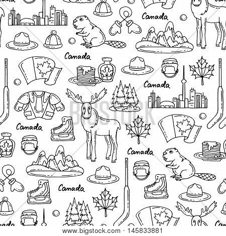 Vector seamless pattern on the theme of Canada. Pattern with symbols of Canada on white color.