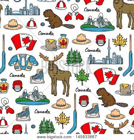 Vector seamless pattern on the theme of Canada. Pattern with colored symbols of Canada.
