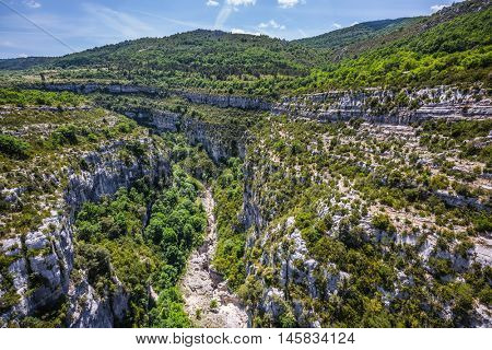 The largest alpine canyon in Europe in the spring. Canyon of Verdon, Provence, France