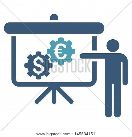 International Industry Presentation icon. Vector style is bicolor flat iconic symbol, cyan and blue colors, white background.