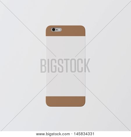 Closeup One Blank Brown Clean Template Cover Phone Case Smartphone Mockup.Generic Design Mobile Back Isolated Empty Background.Ready Corporate Logo White Label Message.3d rendering