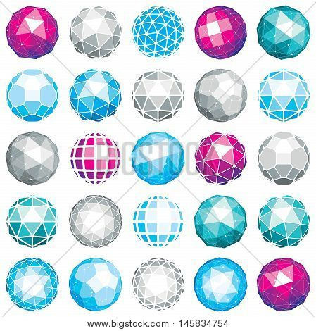 Collection Of Abstract Vector Low Poly Objects With Lines And Dots Connected. Set Of Futuristic Ball