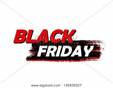 black friday sale banner - text in red black drawn label, business seasonal shopping concept, vector