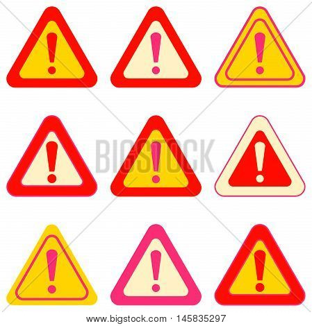 Set of vector exclamation signs. Collection of various colored signs