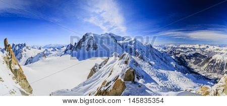 Amazing panorama of Mont Blanc and Chamonix, view from Aiguille du Midi
