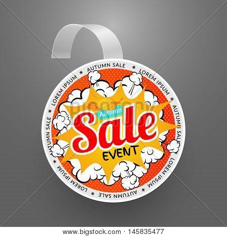 Round wobbler design template. Autumn sale event. Vector illustration in pop art style.