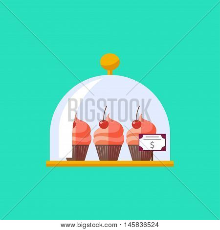 Vector flat cupcake in cloche icon. Food plate illustration