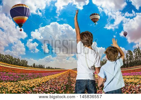 Two boys standing on a field of blooming buttercups and look at the flying balloons among clouds