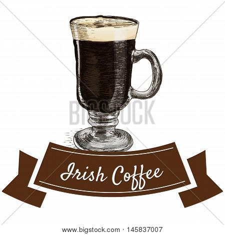 Vector illustration colorful set with Irish coffee. Illustration of coffee on white background