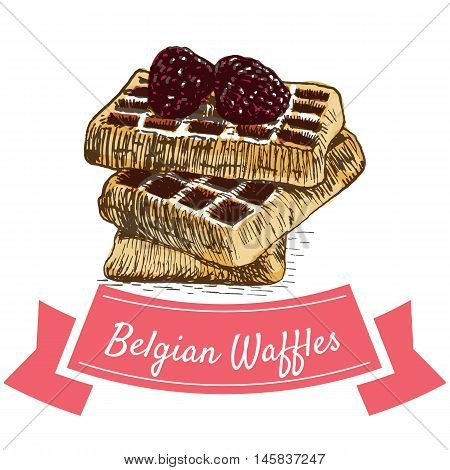 Vector illustration colorful set with Belgian waffles. Illustration various of bakery products on white background