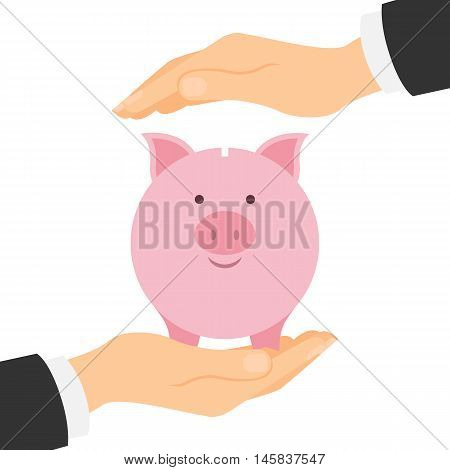 Piggy bank protection. Safety of savings and earnings. Hands palm protect pink piggybank.
