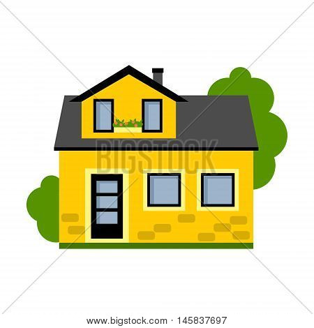 Isolated yellow house. Simple suburban house. Concept of real estate, property and ownership.