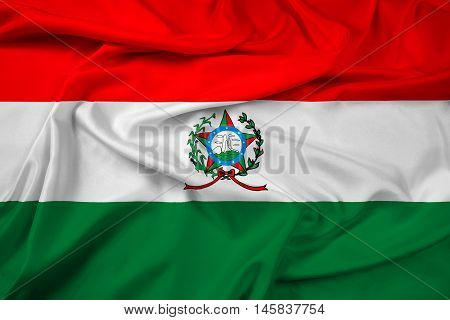 Waving Flag of Afonso Claudio Brazil, with beautiful satin background.