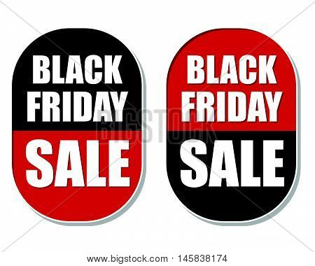 Black friday sale two elliptic flat design labels, business commerce shopping concept, vector