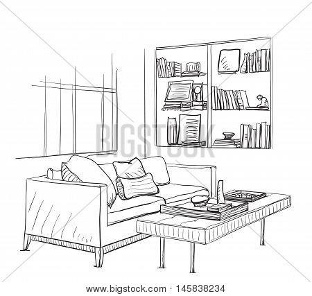 Hand drawn room interior sketch. Sofa, table and bookshelves