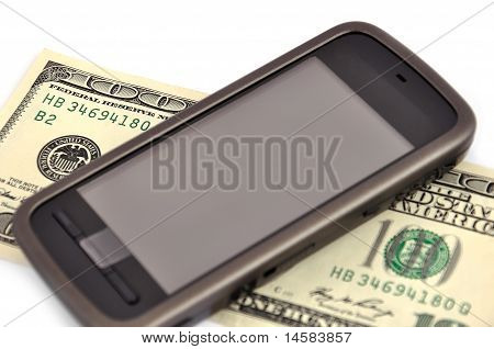Touchscreen Mobile Phone And Dollar