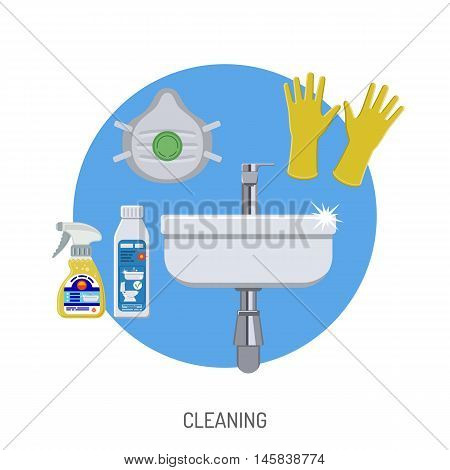 Plumbing Service Concept with cleaning sink and Plumber Tools Flat Icons. Vector illustration.