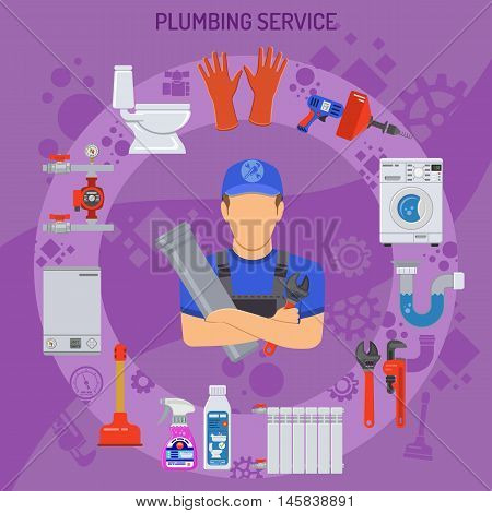 Plumbing Service Concept with Plumber, Tools and Device Flat Icons. Vector illustration.
