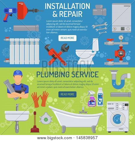Plumbing Service Installation and Repair Horizontal Banners  with Plumber, Tools and Device Flat Icons. Vector illustration.
