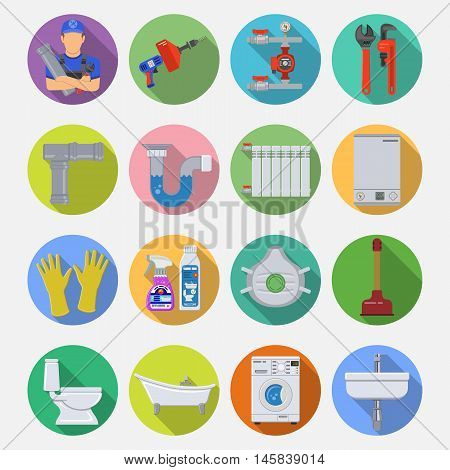 Plumbing Service Flat Icons Set with Long Shadow on Circle with Plumber, Device and Tools items. Vector illustration.