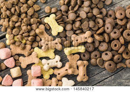 Different dog foods. Top view.