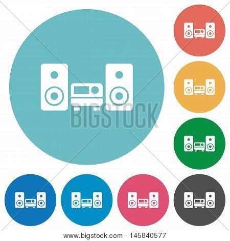 Flat hifi icon set on round color background.