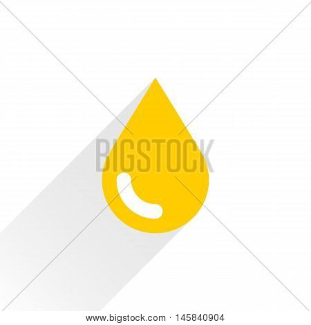 Yellow color drop icon with gray long shadow on white background. Gold oil sign in simple solid plain flat style. This vector illustration graphic web design graphic element saved in 8 eps