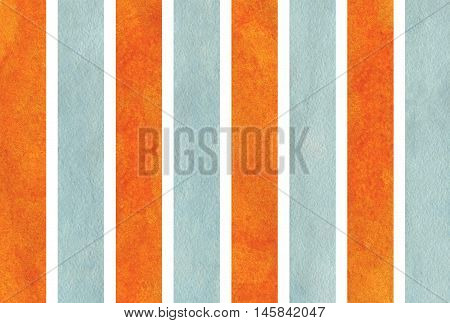 Watercolor Orange And Blue Striped Background.