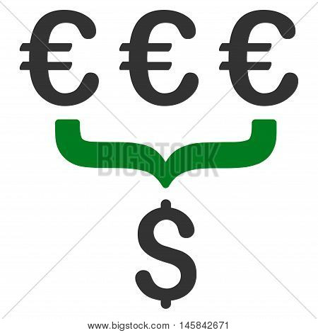 Euro Dollar Conversion Aggregator icon. Vector style is bicolor flat iconic symbol, green and gray colors, white background.