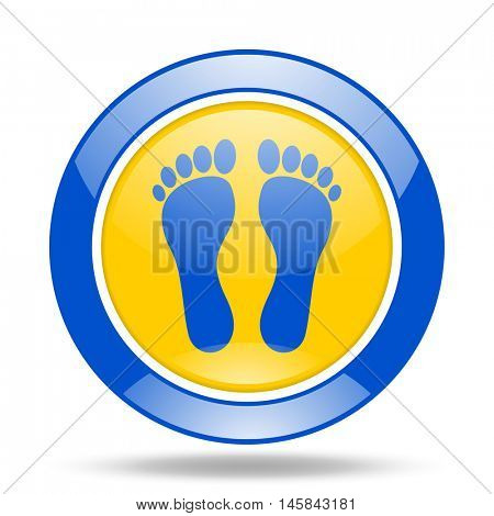 foot round glossy blue and yellow web icon
